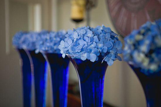 Sapphire sky blue wedding centrepiece table