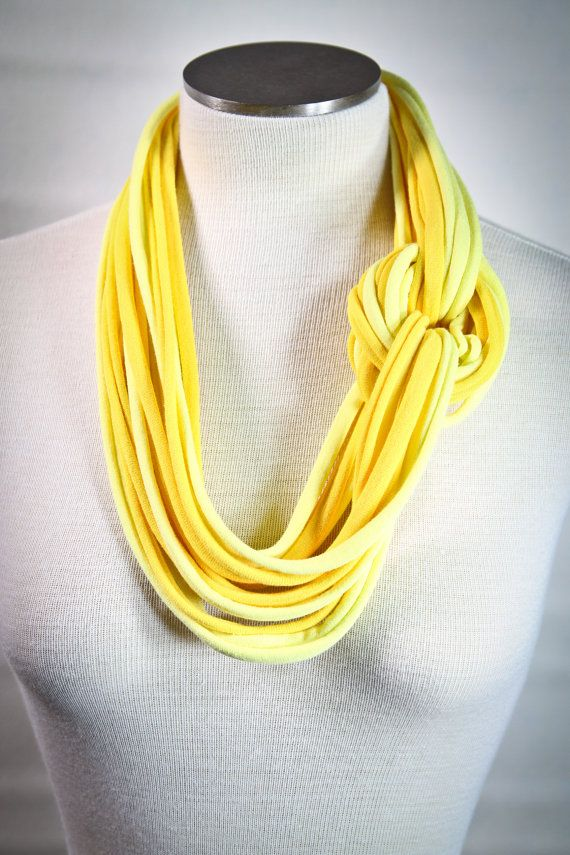 yellow t shirt jersey infinity scarf necklace