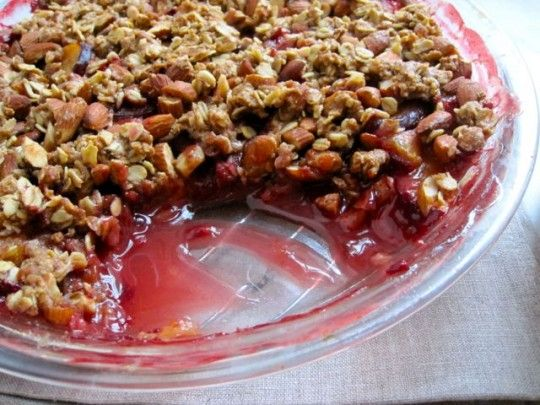Plum almond crisp with cardamom custard   Recipes   Pinterest