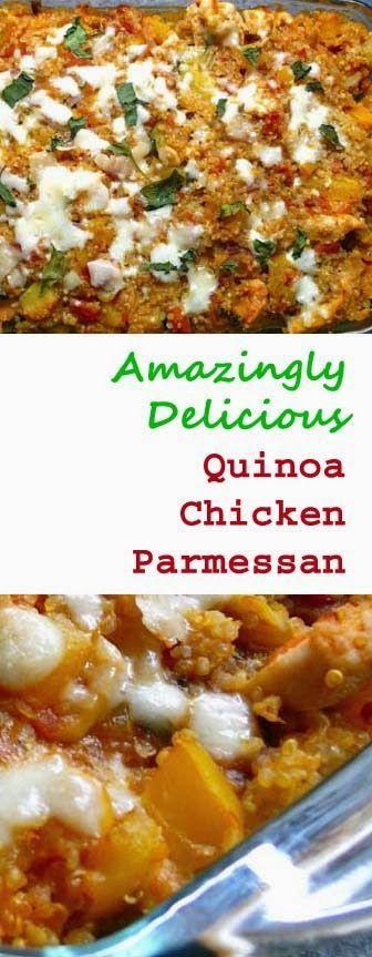 ... Delish! Healthy & Low Fat #Quinoa Chicken Parmesan. Click for Recipe