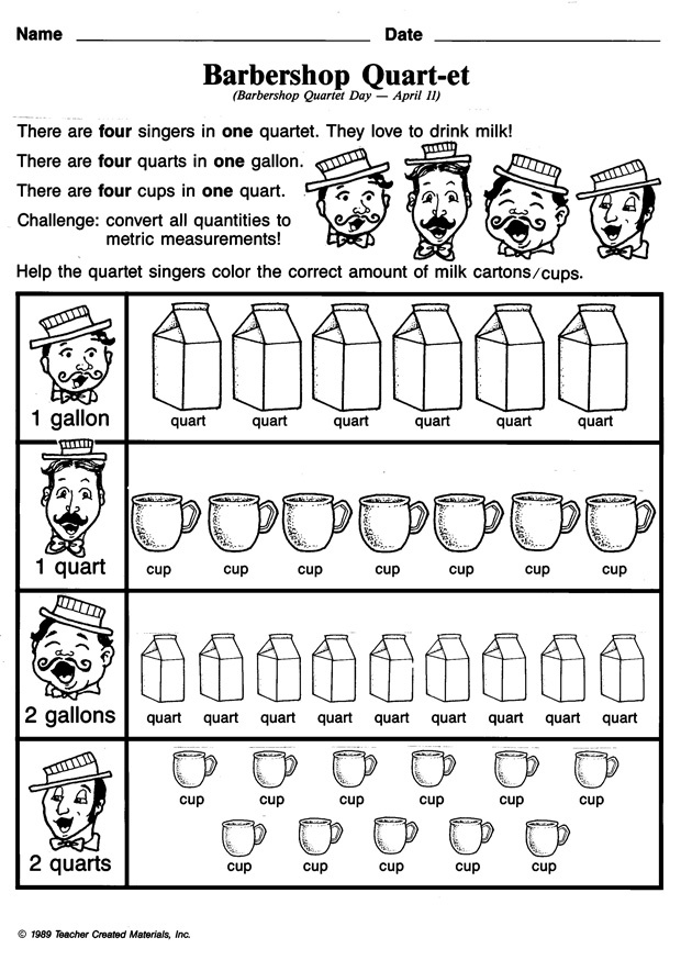 Is your 3rd grader still confused by the relationship between cups, quarts and gallons? Barbershop Quart-et will help straighten things out for her. The barbershop quartet singers love to drink milk, but each of them wants a different amount. Can your child help the singers out by coloring in the right number of milk cartons/cups in this printable worksheet?