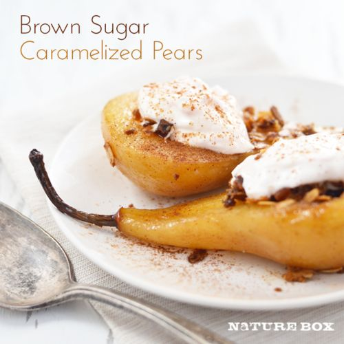 Brown Sugar Caramelized Pears. Really good with or without the topping ...
