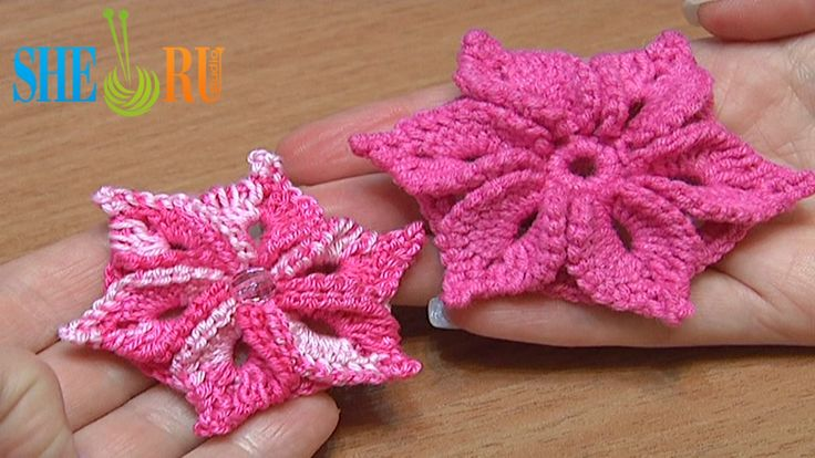 Crochet 3D Flower Tutorial 46 Crochet Around Post http://www.youtube ...