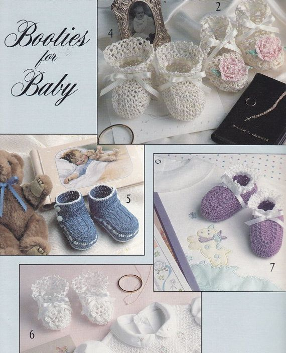 Crochet Cotton Baby Booties Pattern : Baby Booties Crochet Patterns with Thread - 9 Designs