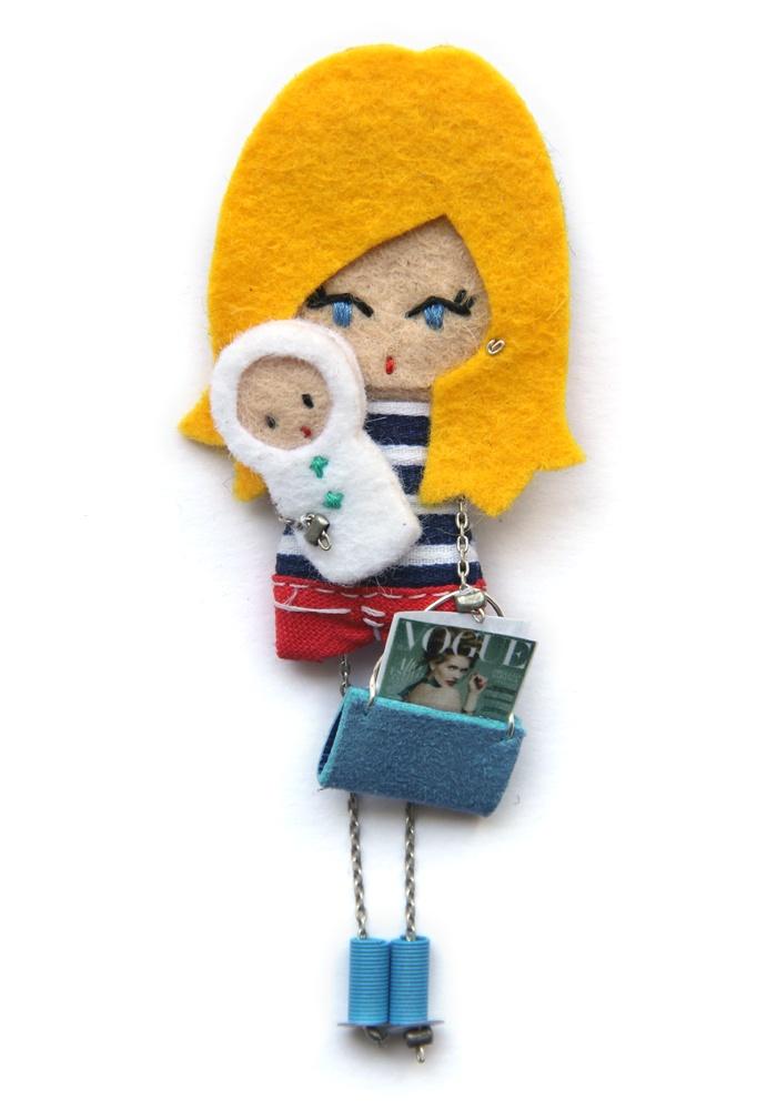 Занятая мама.  # # Войлочные куклы фибула кукла # # пользовательские куклы минимальных