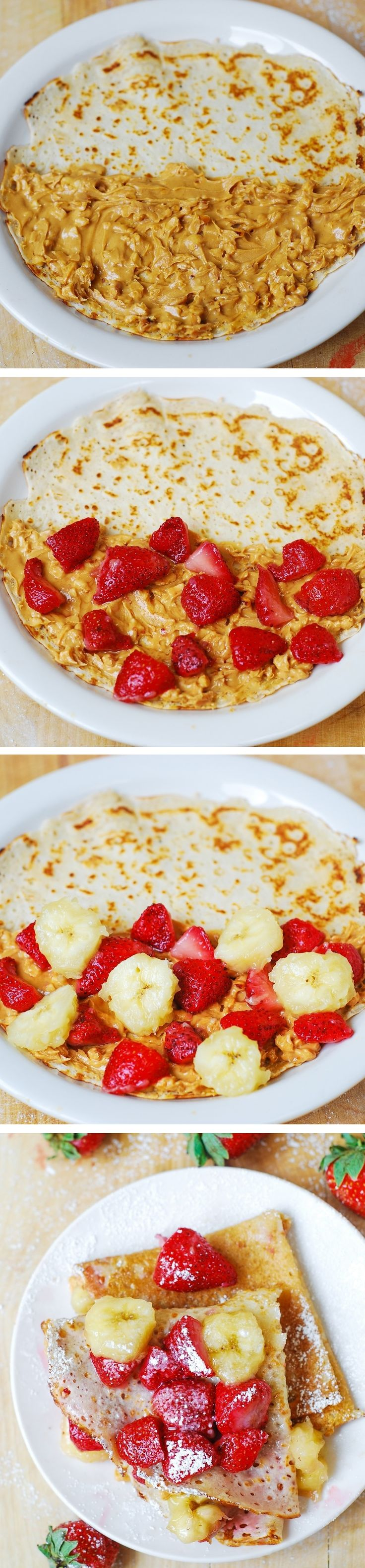Crepes filled with strawberries, bananas, and peanut butter. Delicious ...