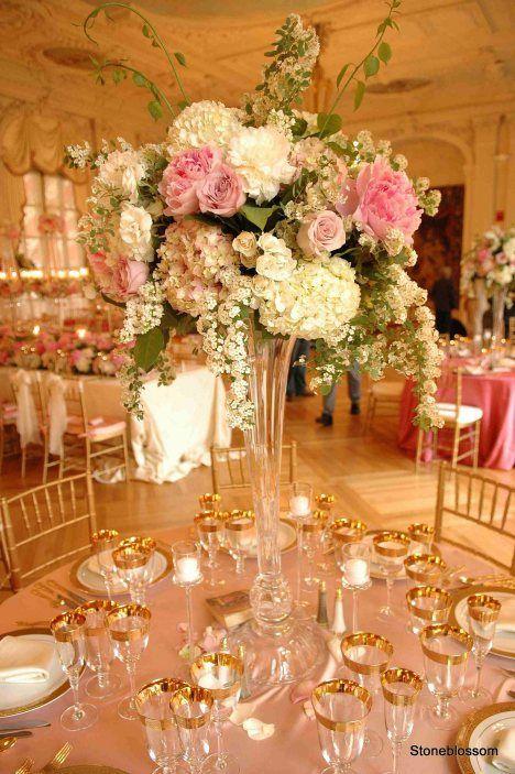 Tall floral arrangement engagement wedding pinterest