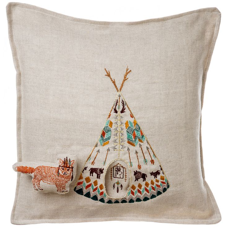 Coral and Tusk - plains fox pocket pillow
