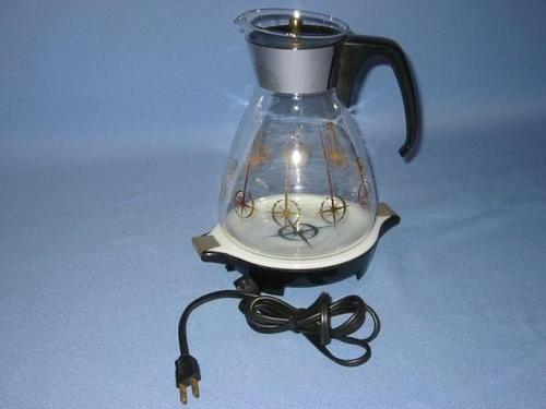 Coffee Pot Warmer Electric : Vintage PYREX Round ELECTRIC SERVER Glass Coffee Pot Carafe warmer Mo?