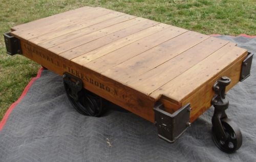 Antique Lineberry Factory Cart Coffee Table Railroad
