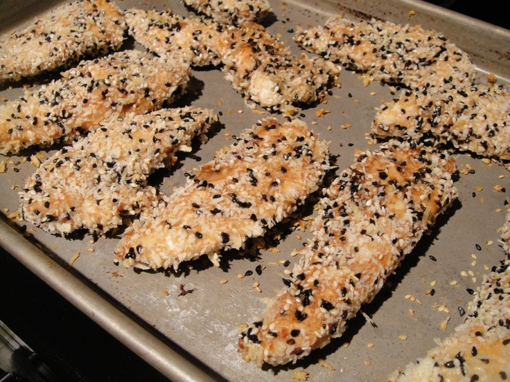 Sesame Encrusted Baked Chicken Tenders w/ Edamame Fried Rice