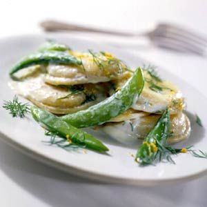 Ravioli and Snap Peas with a Lemony Cream Sauce.  Start with refrigerated cheese ravioli.