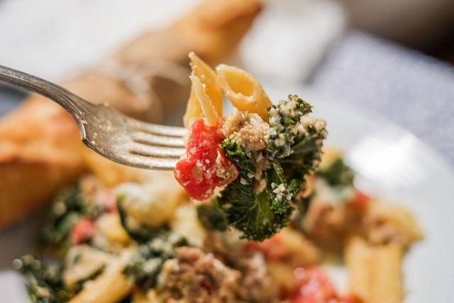Sausage and Kale Pasta Bake | Deep Stir | Pinterest