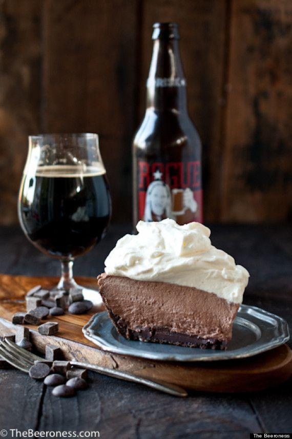 Beer Stout Mile High Chocolate Pie http://www.MervEdinger.com