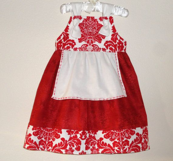 Girls christmas knot dress red and white damask 2 by amievoltaire 28