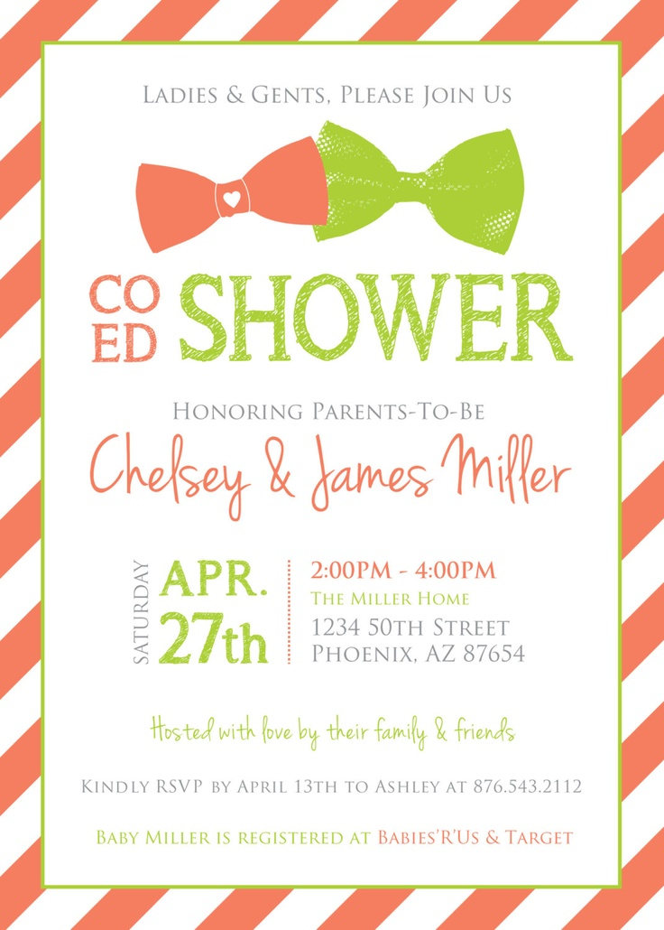 co ed baby shower bows and stripes invitation coral lime