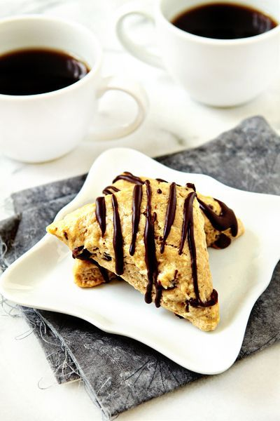 Mocha Scones - coffee infused chocolate chip scones with a mocha ...