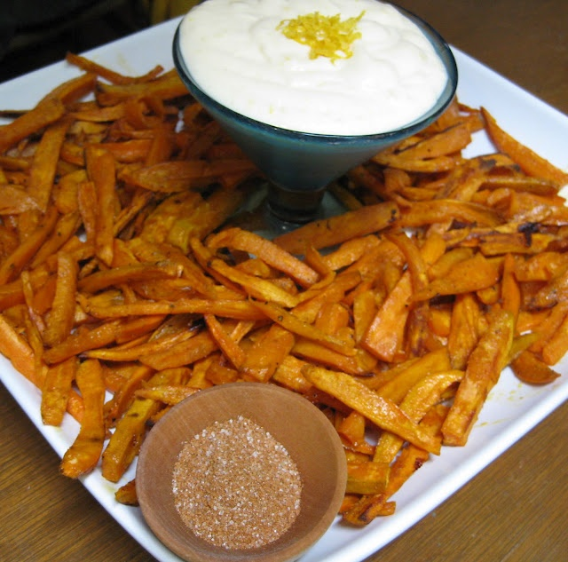 Baked Sweet Potato Fries with Lime-Garlic Dipping Sauce