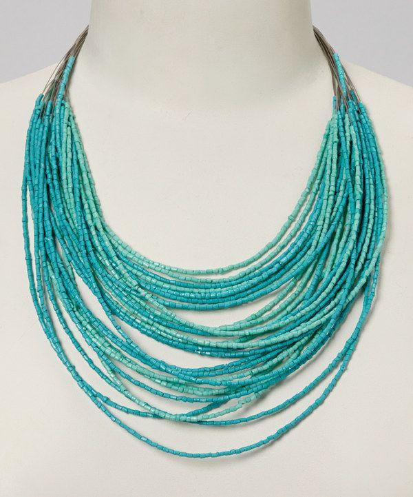 turquoise beaded multi strand bib necklace