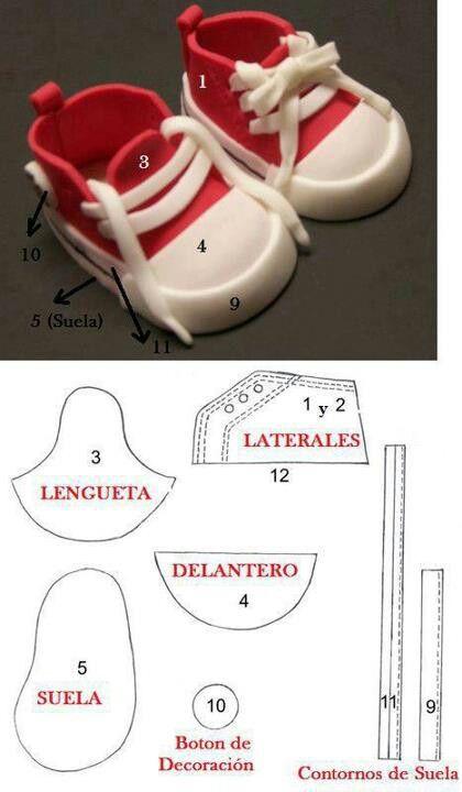 Fondant Baby Sneaker Template