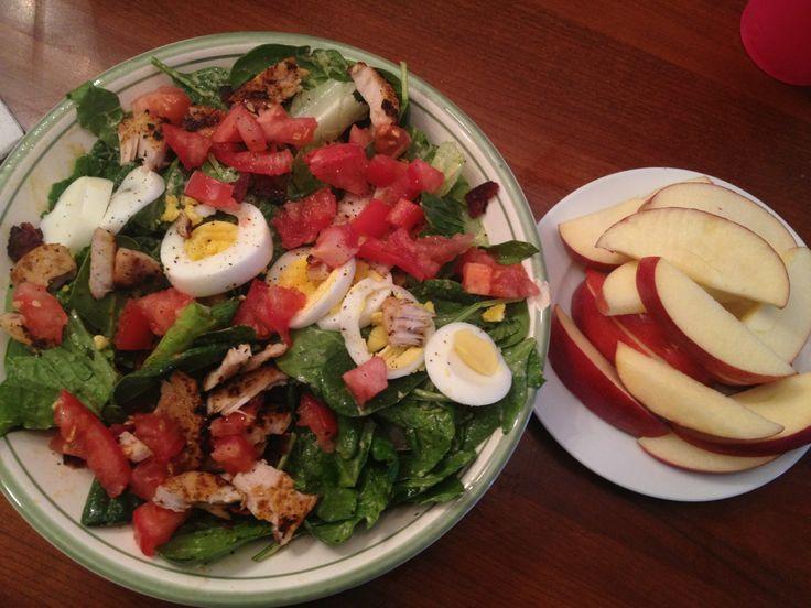 Cobb Salad: Salad- Spinach Lettuce Grilled chicken Crispy turkey bacon ...