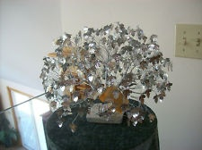 "J.E. Tramel AN ORIGINAL ""DREAM TREE"" SILVER FOILED LEAVES TWISTED TRUNK W/PAPERS"