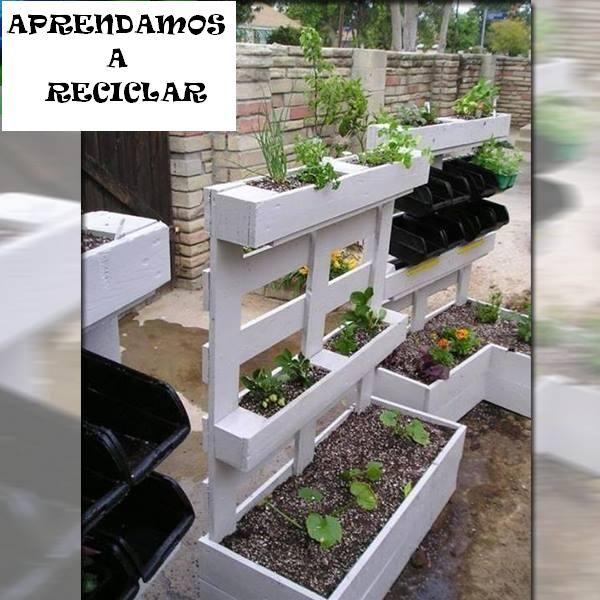 Jardineras con palets aprendamos a reciclar pinterest - Jardineras con palets ...