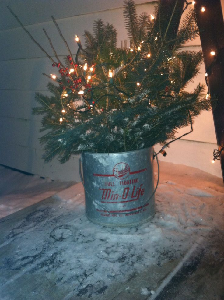 Metal bucket with christmas greens home for the holidays for Christmas tin pails