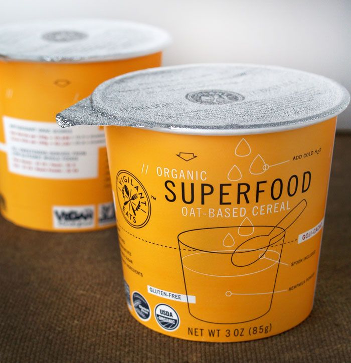 Great cup cereal packaging. I love the fresh look and unexpected color.