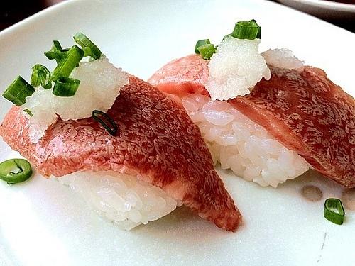 gunkan sushi this wagyu gunkan is an at gunkan sushi senjyu wagyu ...