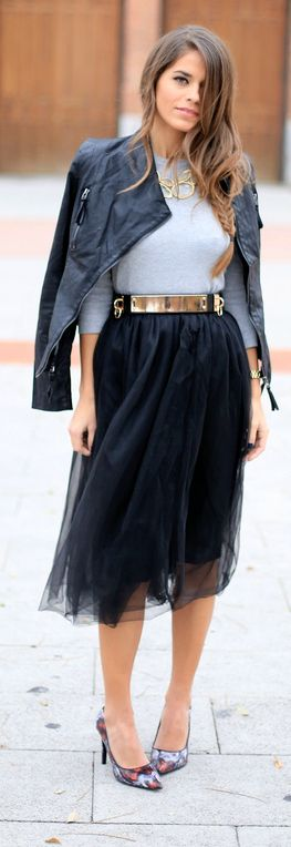 Black tulle skirt, gold belt, grey top, leather moto jacket and fall accessories