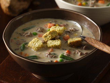 Veggie-Beef Chowder with Mozzarella - Dinner ready in 30 minutes ...