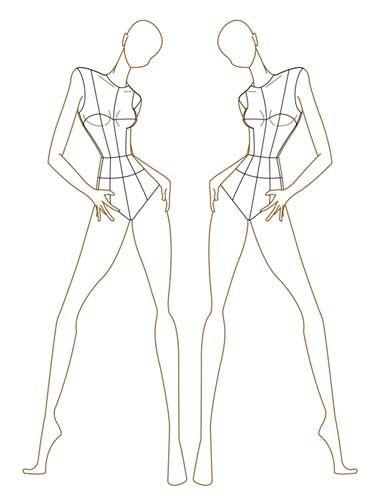 Fashion illustration templates back