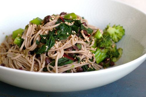 Broccoli, Swiss Chard: Miso Soba Stir Fry with Greens and Beans. This ...