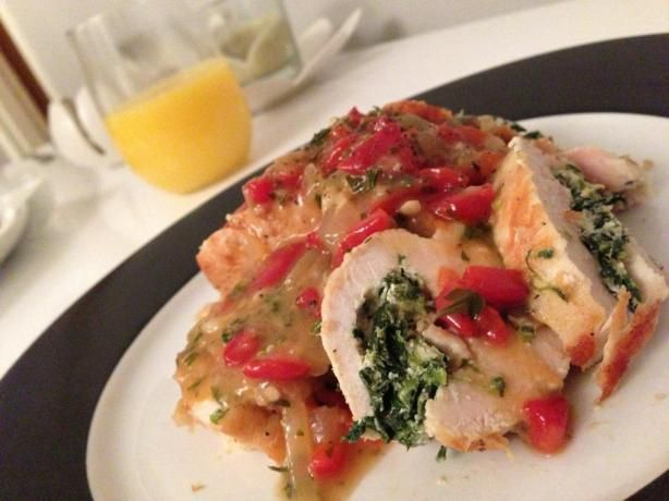 Goat Cheese Stuffed Chicken Breast--we made this tonight with roasted ...