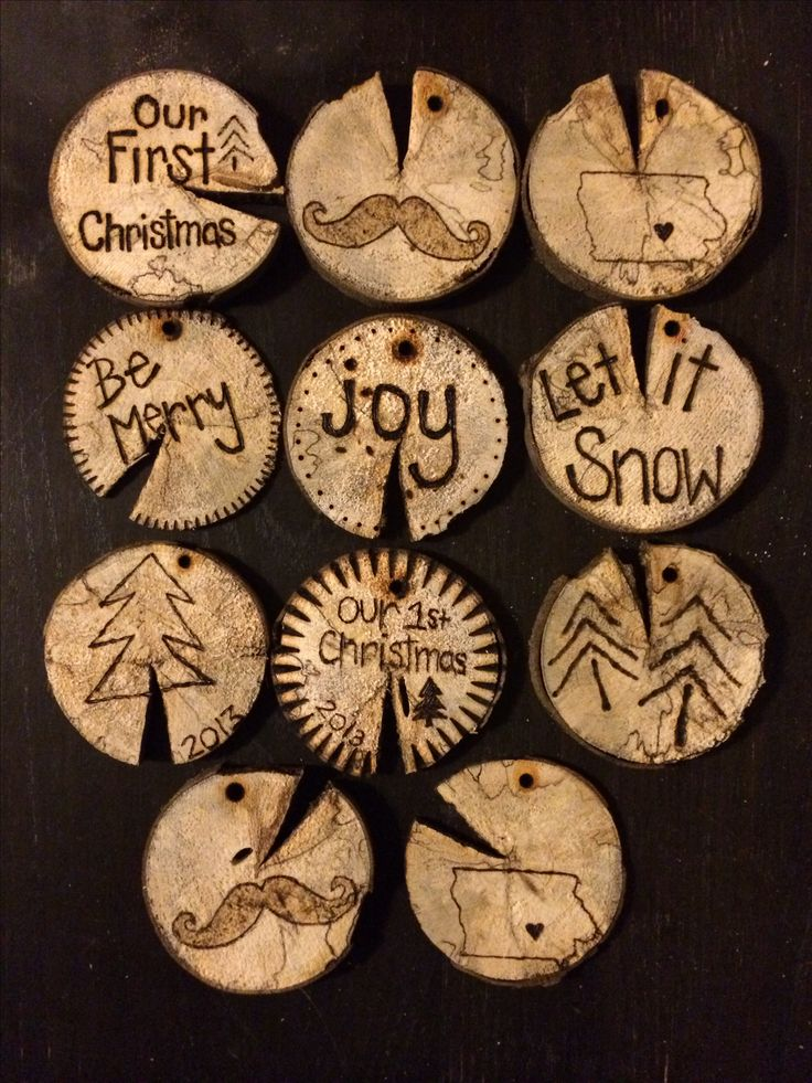 ... wood burned ornaments! Happy Holidays, Christmas, DIY, craft, wood