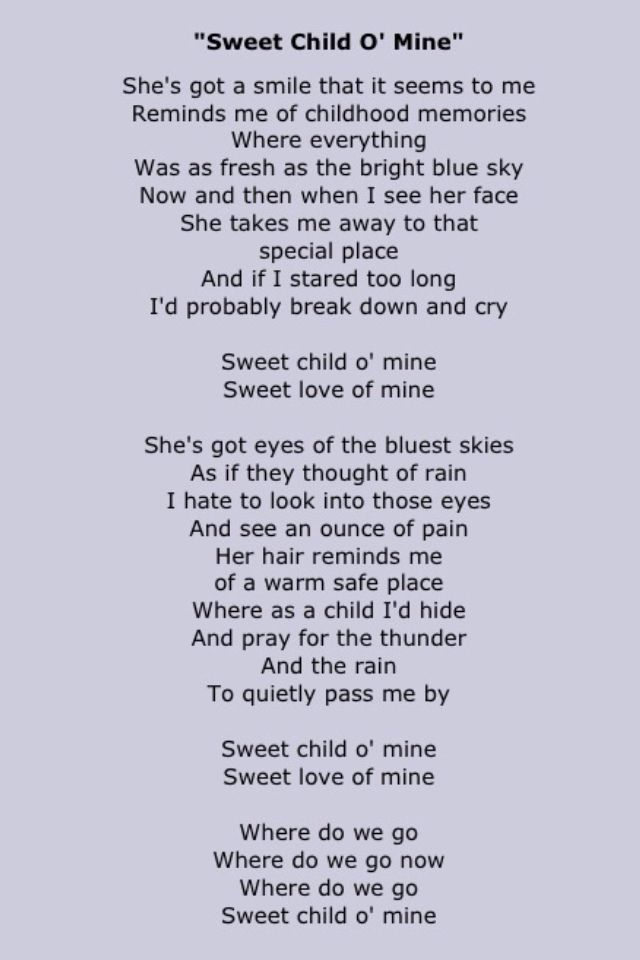 guns roses songs sweet child mine