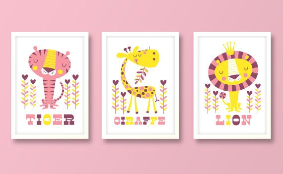 Nursery art girl baby girls print set jungle by BubbleGumYears, £23.99