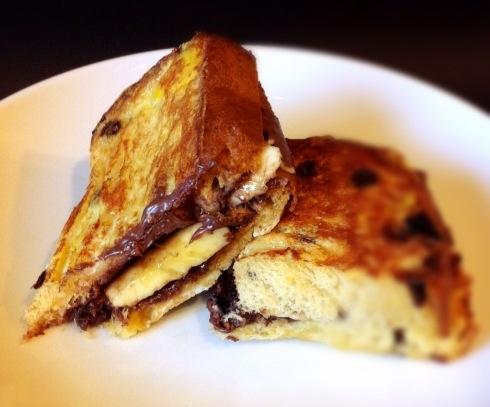 Nutella and Banana Stuffed Panettone French Toast