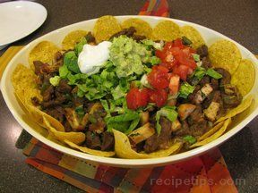 Beef Fajita Nachos Recipe from RecipeTips.com!