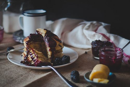 Cornmeal pancakes with blackberry-goat cheese syrup. by Two Red Bowls ...