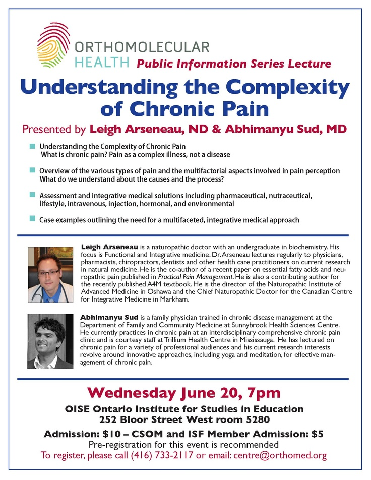 Public lecture on Chronic Pain in Toronto