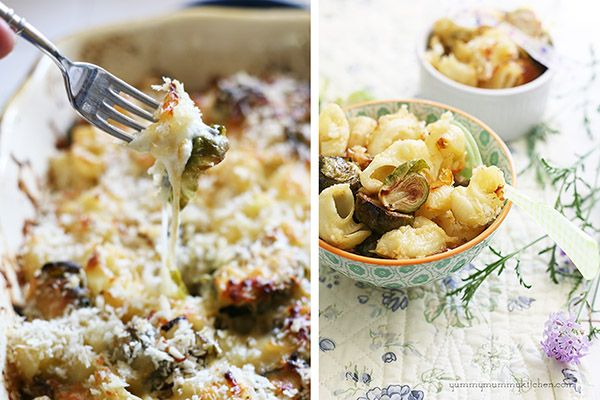 Baked Brussels Sprout Mac and Cheese