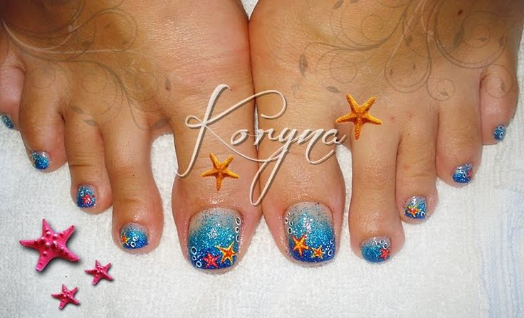 Toe nail starfish nail art pedicure | Starfish Nail Art ...