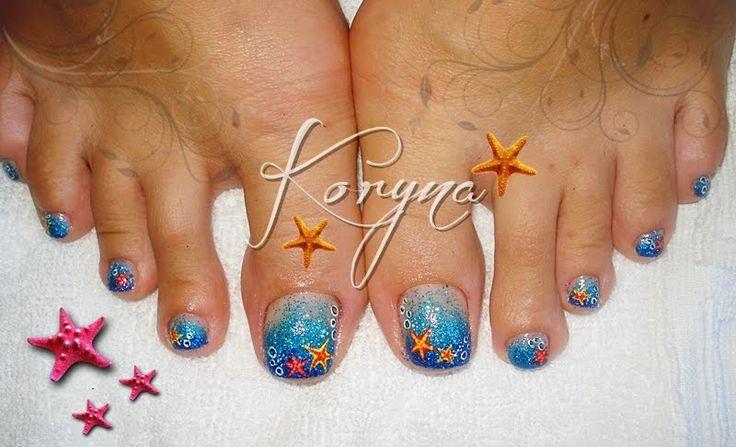 Toe nail starfish nail art pedicure | Starfish Nail Art ...