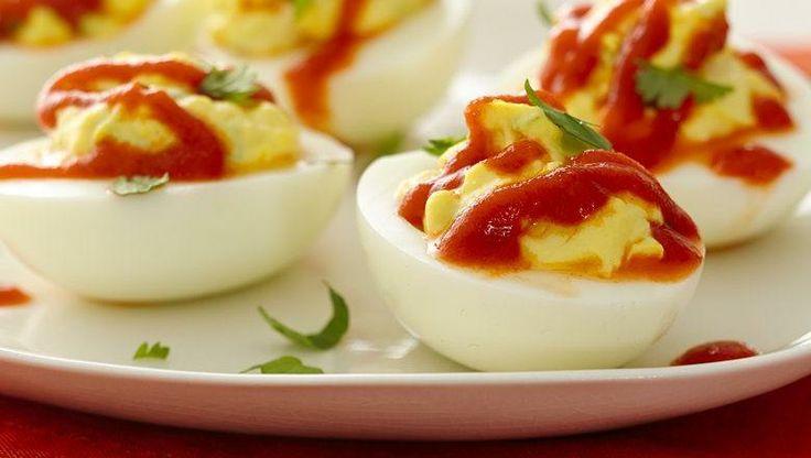 Spicy Sriracha Deviled Eggs | Recipe