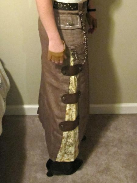 up-cycle a too-slim skirt with a steam punk flair.