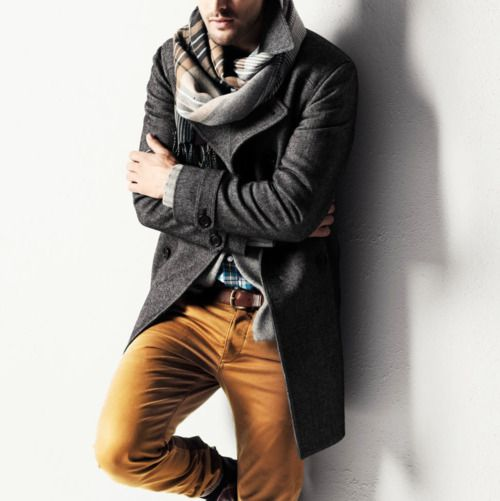 Scarf. Coat. Mustard trousers.