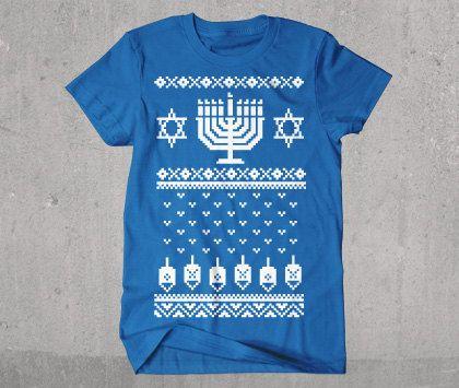 Hanukkah Ugly Christmas Sweater Tshirt by wopbobalubob on Etsy, $19.95