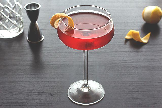 Boulevardier Cocktail - Bourbon, Carpano Antica, Campari, Lemon Twist.